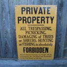 PRIVATE PROPERTY PORCELAIN COAT SIGN METAL ADV SIGNS J