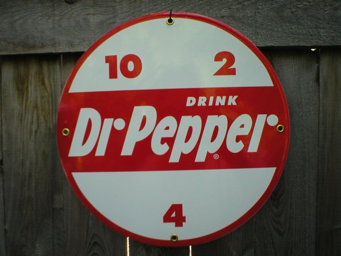 DR PEPPER PORCELAIN COATED RETRO SIGN