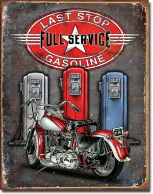 LAST STOP FULL SERVICE GASOLINE TIN SIGN