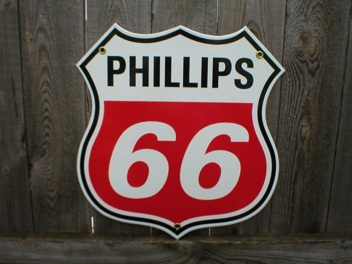 PHILLIPS 66 RETRO PORCELAIN COATED SIGN