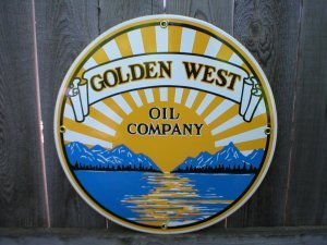GOLDEN WEST OIL COMPANY PORCELAIN COAT SIGN