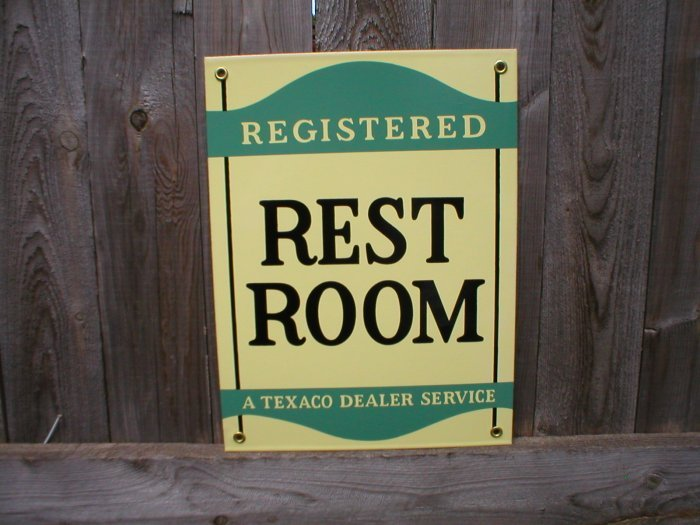 TEXACO REST ROOM PORCELAIN COATED SIGN