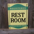 TEXACO REST ROOM PORCELAIN COATED SIGN