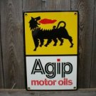 AGIP MOTOR OILS PORCELAIN COATED SIGN