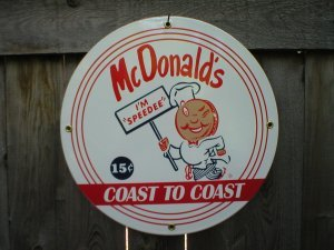 MC DONALDS PORCELAIN COAT SIGN