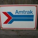 AMTRAK PORCELAIN-COATED RAILROAD SIGN A