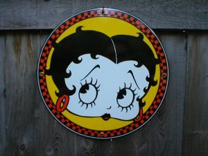 BETTY BOOP PORCELAIN COAT SIGN