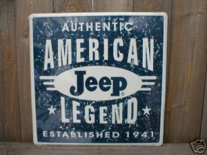 JEEP AMERICAN LEGEND 1941 TIN SIGN