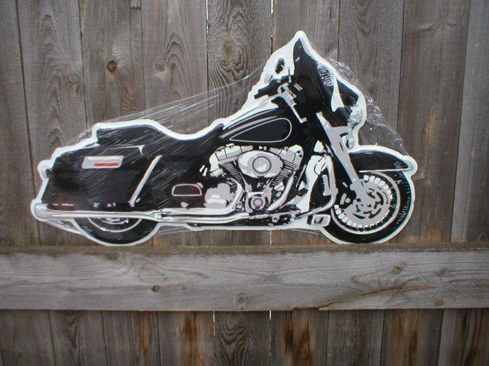 BLACK MOTORCYCLE DIECUT TIN SIGN