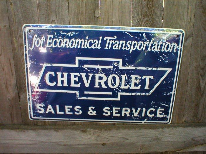 CHEVROLET SALES & SERVICE TIN SIGN