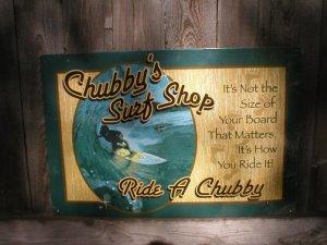 CHUBBY'S SURF SHOP TIN SIGN