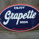 GRAPETTE SODA PORCELAIN-COATED OVAL SIGN