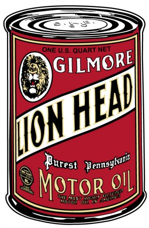 LARGE GILMORE LION HEAD OIL CAN SIGN