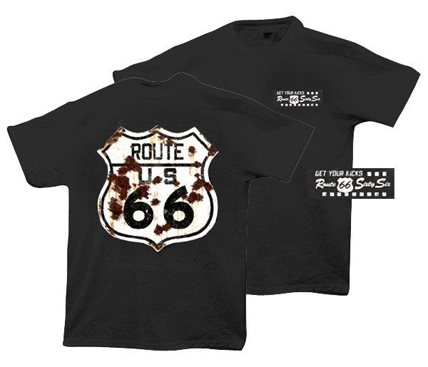 """BLACK """"ROUTE 66"""" T-SHIRT"""