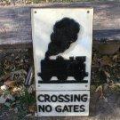 CROSSING NO GATES RAILROAD SIGN CAST IRON