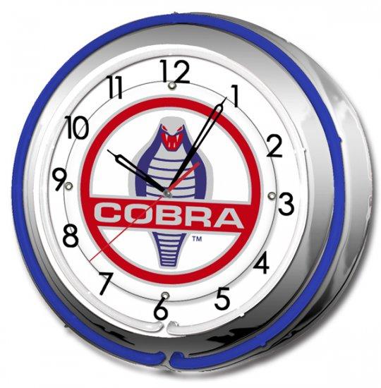 "COBRA SHELBY DOUBLE NEON CLOCK 17"""