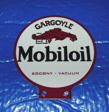 MOBILOIL GARGOYLE LUBESTER DOUBLE SIDED SIGN