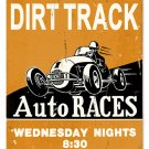DIRT TRACK AUTO RACES HEAVY METAL SIGN