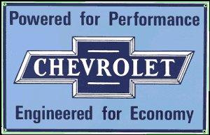 CHEVROLET POWERED PORCELAIN COATED SIGN