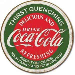 DRINK COCA-COLA ROUND TIN SIGN