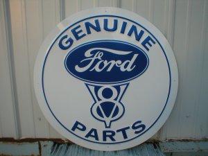"GENUINE FORD V8 PARTS 24"" TIN SIGN"