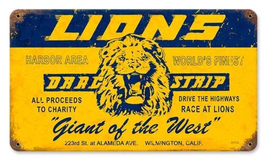 LIONS DRAG STRIP HEAVY METAL SIGN