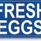 FRESH EGGS HEAVY METAL SIGN BLUE