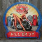 LAST STOP GASOLINE FILL ER UP Heavy Metal Sign