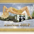 P-51 Mustang American Gold metal sign w/ Pin Up girl