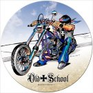 Old School Biker Chopper Heavy Metal Round Sign