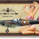 RAF Spitfire airplane metal sign Pin Up Girl
