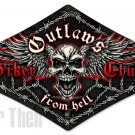 OUTLAWS BIKER CLUB diamond shaped Heavy Metal Sign