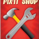 Dads Fix It Shop HEAVY METAL GARAGE SIGN red