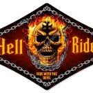 HELL RIDER DIAMOND SHAPE Heavy Metal Sign