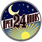 Open 24 Hours HEAVY METAL ROUND SIGN