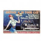 SERVICE IN YOUR CAR METAL SIGN FORD CONVERTIBLE