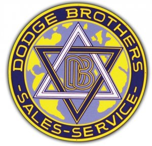"""DODGE BROTHERS HEAVY STEEL BAKED ENAMEL ROUND SIGN 25.5"""""""