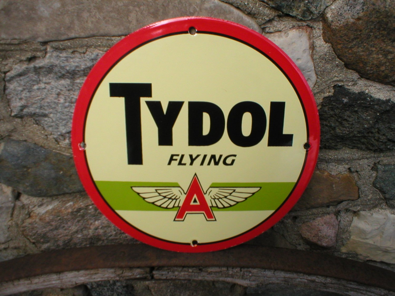 TYDOL FLYING A  PORCELAIN COATED SIGN