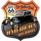 ROUTE 66 HOT ROD SHIELD LARGE METAL SIGN