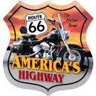 ROUTE 66 LARGE MOTORCYCLE SHIELD SIGN