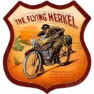 THE FLYING MERKEL SHIELD LARGE METAL SIGN