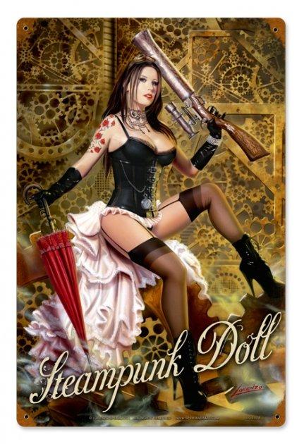 STEAMPUNK DOLL METAL SIGN