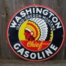 WASHINGTON GASOLINE PORCELAIN COATED SIGN