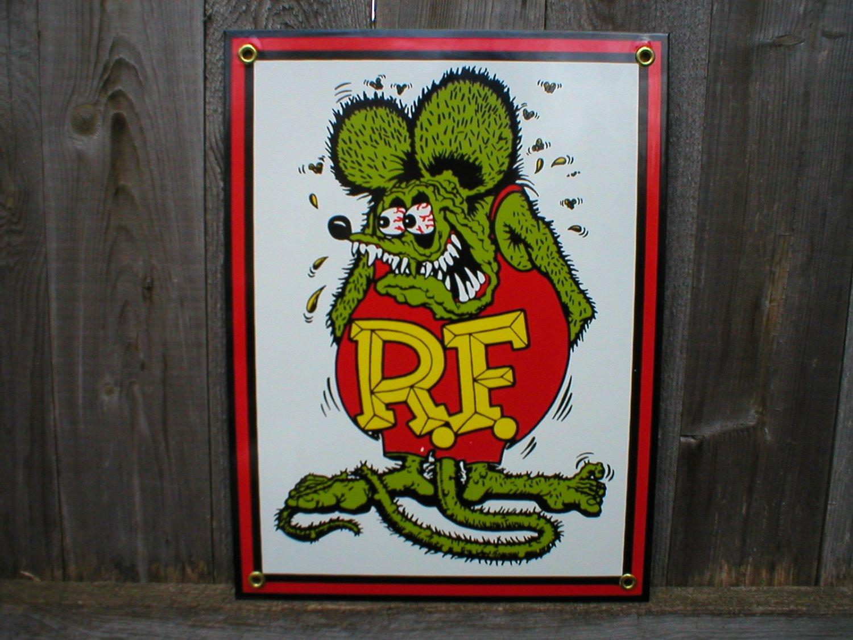 Rat Fink Porcelain Coated Sign