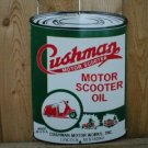 CUSHMAN MOTOR SCOOTER OIL CAN PORCELAIN COATED SIGN