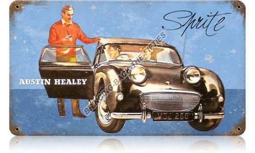 AUSTIN HEALEY SPRITE HEAVY METAL SIGN