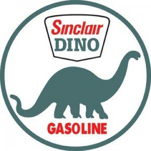 "SINCLAIR DINO GASOLINE HEAVY STEEL BAKED ENAMEL SIGN 25.5"""