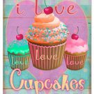 I LOVE CUPCAKES LARGE COLORFUL METAL SIGN P