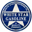 WHITE STAR GASOLINE ROUND METAL SIGN 14""