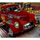GASSER RED WILLYS TRUCK METAL SIGN